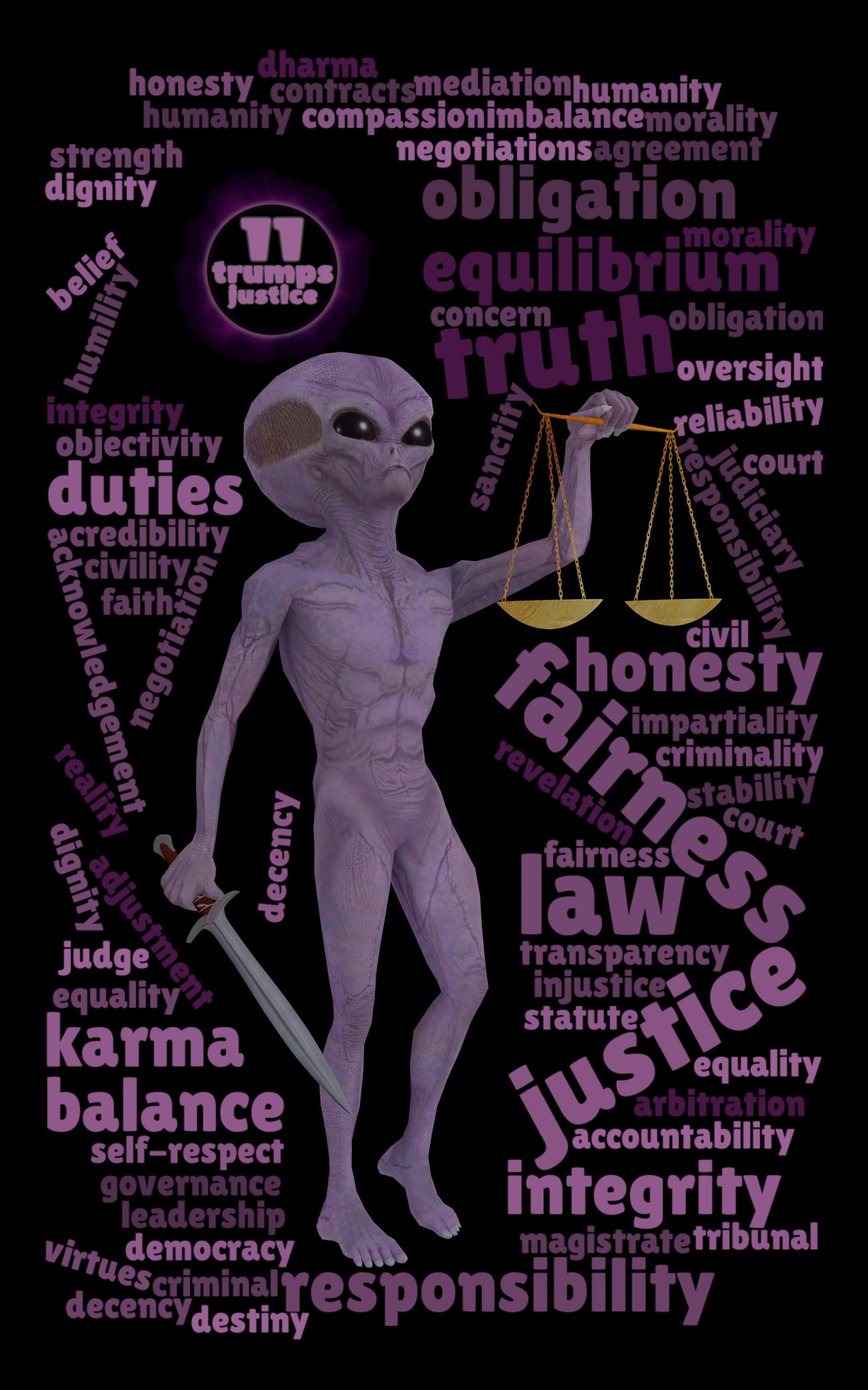 Word Cloud Tarot – 11th Trump – Justice
